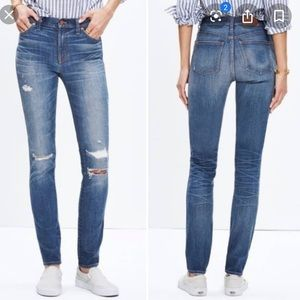 "Madewell 9"" High Rise Skinny Jeans Rip and Repair"
